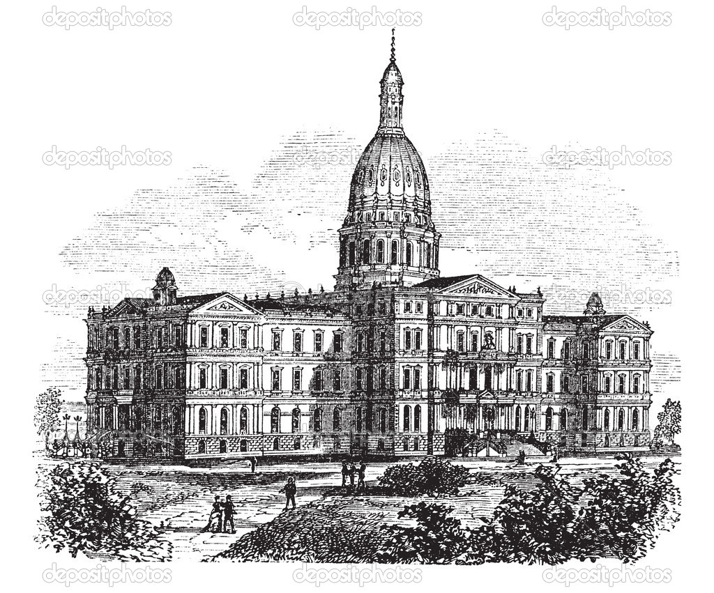 Lansing (KS) United States  city images : ... Capitol Building. Lansing, United States vintage Stock Illustration