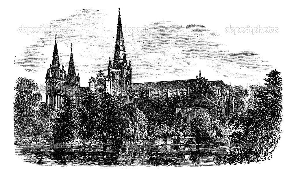 Lichfield Cathedral, Lichfield, Staffordshire, England. vintage engraved illustration. Trousset encyclopedia (1886 - 1891). — Stock Vector #6749601