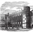 Christ's Hospital in England vintage engraving — Stock Vector #6751204