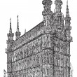 Stock Vector: Town Hall of Leuven Belgium vintage engraving