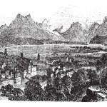 Lucerne in Switzerland vintage engraving — Stock Vector #6751234