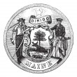 Great Seal of State of Maine, United States, vintage engravi — Stock Vector #6751275