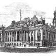 Royal Exchange in Manchester England vintage engraving - 图库矢量图片