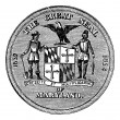 Great Seal of the State of Maryland, United States, vintage engr - Stock Vector