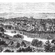 Matanzas or Venice of Cuba in Cuba vintage engraving - 图库矢量图片