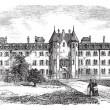 St Patrick's College or Maynooth College in Ireland vintage engr - 图库矢量图片