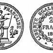 Gold coin of 20 francs, vintage engraving. — Stock Vector #6754110