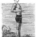 Breaststroke, First Position, vintage engraved illustration — Stock Vector #6754965