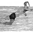 Dog Paddling, vintage engraved illustration — Stok Vektör #6754967