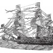 HMS Sovereign of the Seas, vintage engraved illustration — Stock Vector