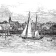 Newburyport in Massachusetts, USA, vintage engraved illustration — Imagen vectorial