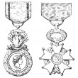 ������, ������: Military Medal Cross of the Legion of Honor vintage engraving
