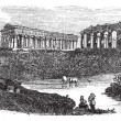 Vector de stock : Ruins of temples at Paestum in CampaniItaly vintage engrav