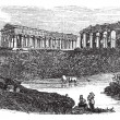 The ruins of temples at Paestum in Campania Italy vintage engrav - 