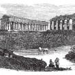 le rovine dei templi di paestum in campania Italia vintage engrav — Vettoriale Stock