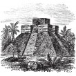 Palenque Pyramid temple in Mexico vintage engraving — Stock Vector #6755861