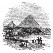The Pyramids of Giza, vintage engraving. — Stock Vector