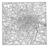London and its environs vintage engraving — Vector de stock