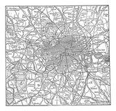 Londra ve kendi çevresi antika gravür — Stok Vektör