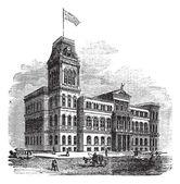 Louisville City Hall in Louisville Kentucky United States vinta — Stock Vector