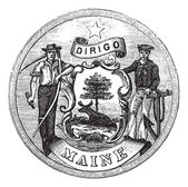 Great Seal of the State of Maine, United States, vintage engravi — Stock Vector
