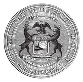 Seal of the state of Michigan, vintage engraving — Stock Vector