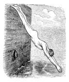 位置在潜水期间,复古刻图 — 图库矢量图片
