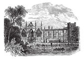 Newstead Abbey in Nottinghamshire, England, UK, vintage engraved — Stock Vector