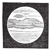 Planet Jupiter als durch ein Teleskop gesehen Vintage Gravur — Stockvektor