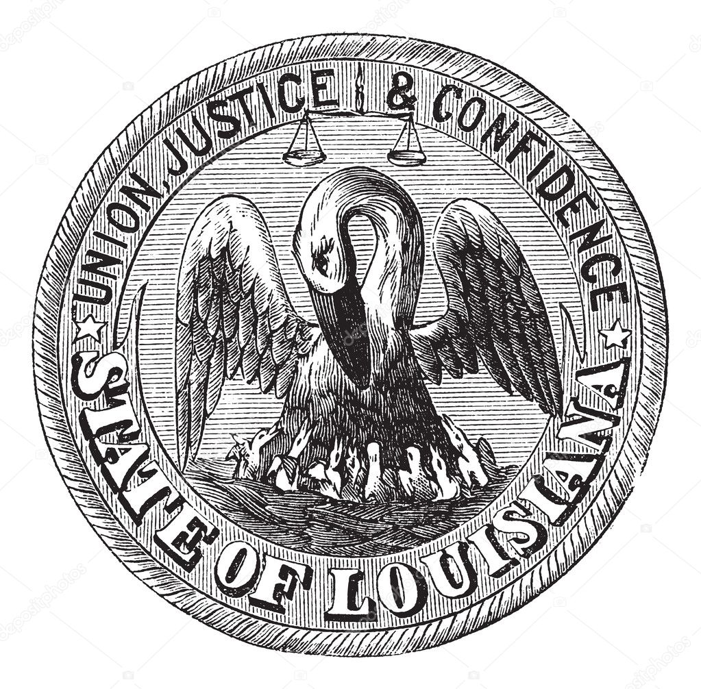 Great Seal of the State of Louisiana, USA, vintage engraving. Old engraved illustration of Great Seal of the State of Louisiana  isolated on a white background. — ベクター素材ストック #6751218