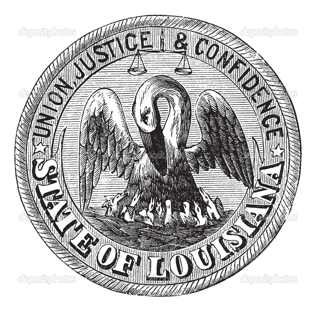 Great Seal of the State of Louisiana, USA, vintage engraving. Old engraved illustration of Great Seal of the State of Louisiana  isolated on a white background. — Vettoriali Stock  #6751218