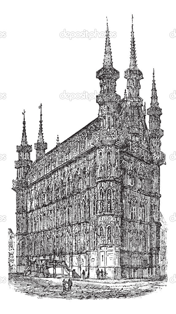 Town Hall of Leuven, Belgium, during the 1890s, vintage engraving. Old engraved illustration of Town Hall of Leuven. — Stock Vector #6751227