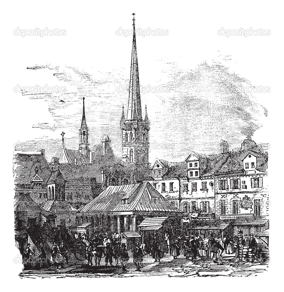 Market Place of Lubeck, Germany, during the 1890s, vintage engraving. Old engraved illustration of Market Place of Lubeck with and shops. — Stock Vector #6751232