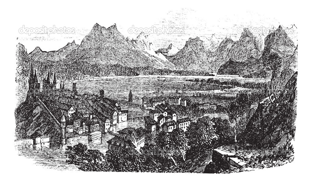 Lucerne in Switzerland, during the 1890s, vintage engraving. Old engraved illustration of Lucerne with Reuss River. — Stock Vector #6751234
