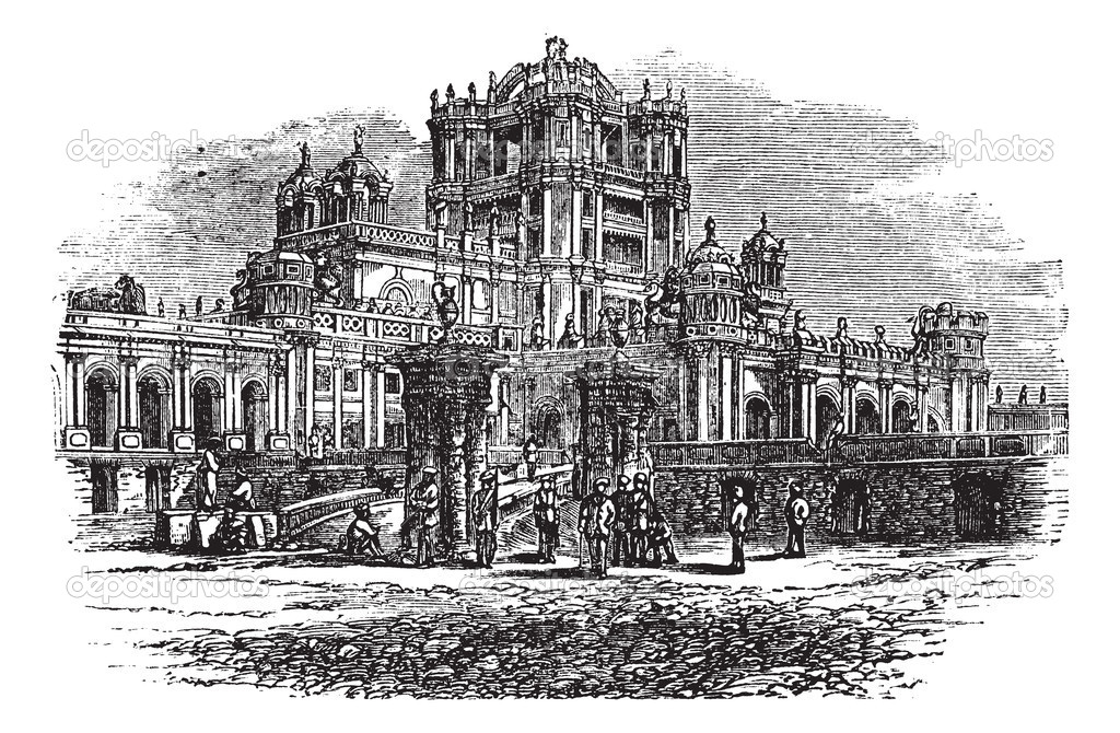 La Martiniere College in Lucknow, Uttar Pradesh, India, during the 1890s, vintage engraving. Old engraved illustration of La Martiniere College. — Stock Vector #6751235