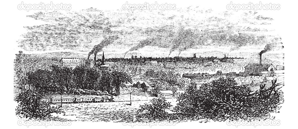 Macon or Heart of Georgia in Georgia, US, during the 1890s, vintage engraving. Old engraved illustration of Macon industrial area with smokestacks. — Stock Vector #6751266