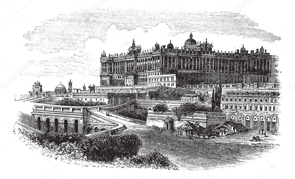 The Royal Palace of Madrid in Spain, during the 1890s, vintage engraving. Old engraved illustration of the Royal Palace of Madrid.  Stock Vector #6751269