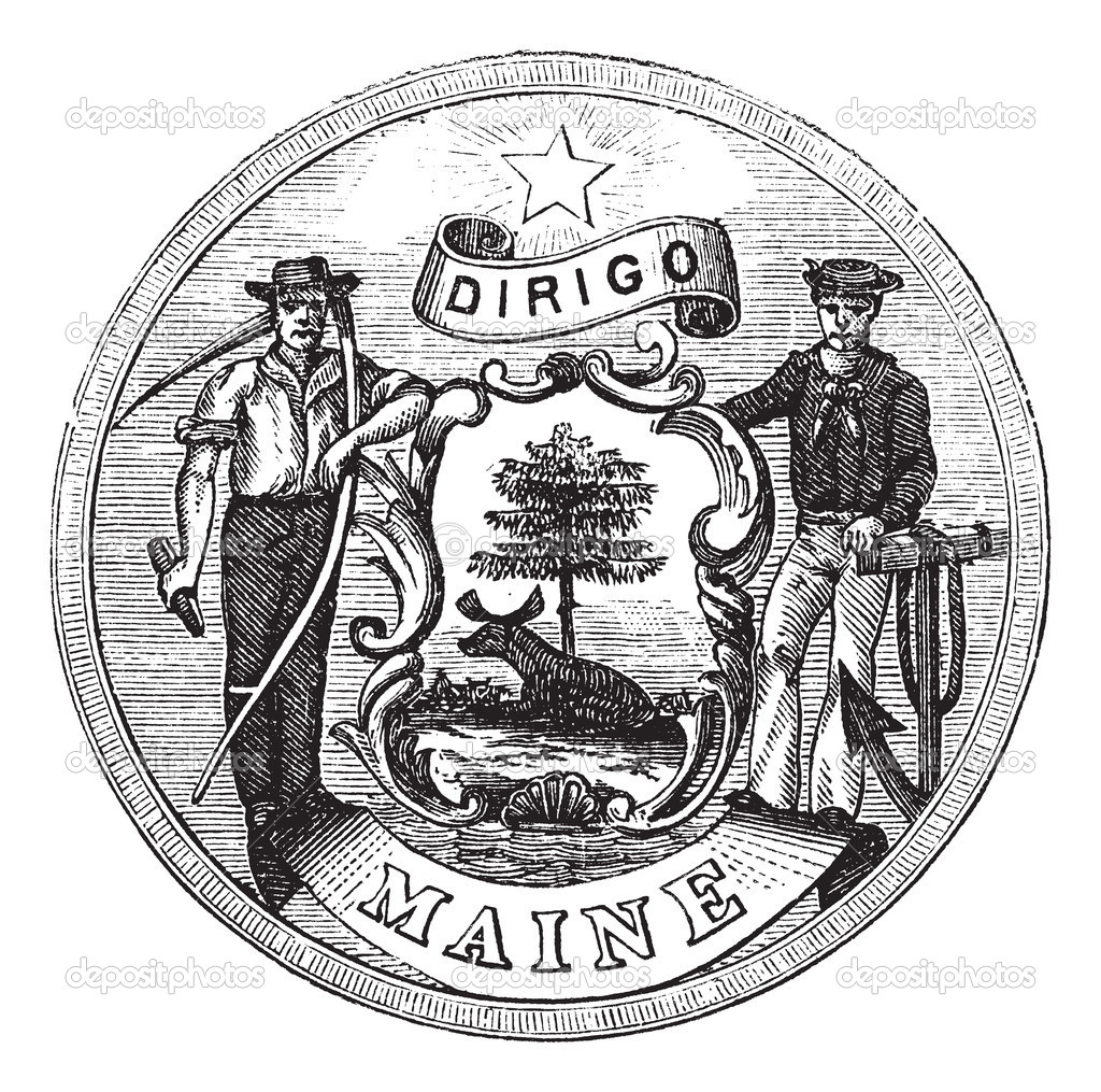 Great Seal of the State of Maine, United States, vintage engraving. Old engraved illustration of Great Seal of the State of Maine isolated on a white background  Stock Vector #6751275