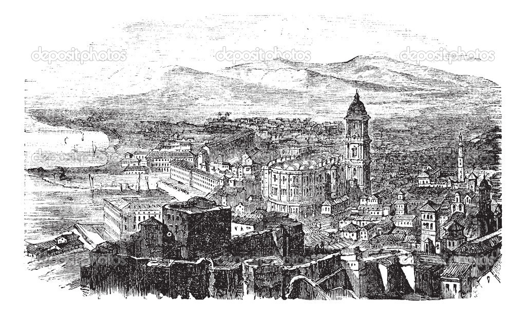 Malaga in Andalusia, Spain, during the 1890s, vintage engraving. Old engraved illustration of Malaga with its port.  Stock Vector #6751285