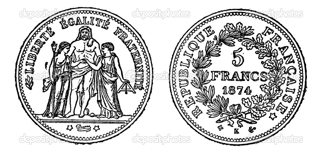 Piece of silver 5 francs, vintage engraved illustration. Trousset encyclopedia (1886 - 1891). — Stock Vector #6754105