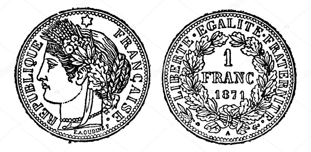 Piece of silver 1 franc, vintage engraved illustration. Trousset encyclopedia (1886 - 1891). — Stock Vector #6754112
