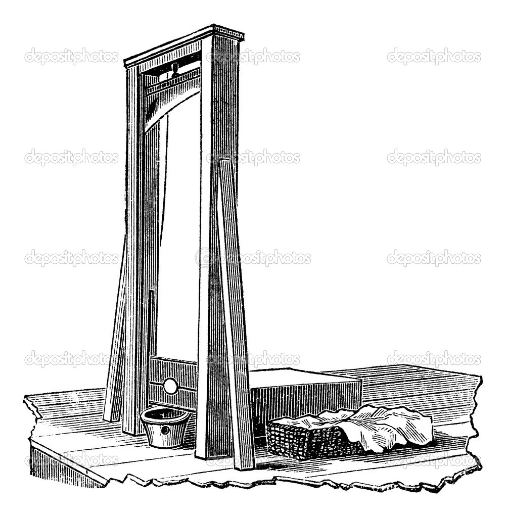 Guillotine isolated on white, vintage engraved illustration. Trousset encyclopedia (1886 - 1891). — Stock Vector #6754612
