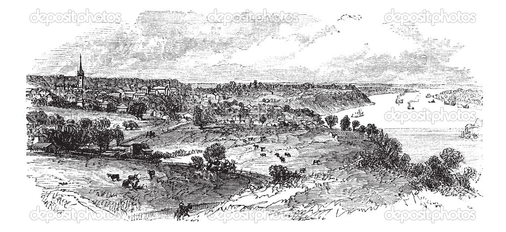 Natchez in Mississippi, USA, vintage engraved illustration. Trousset encyclopedia (1886 - 1891).  Stockvectorbeeld #6754981