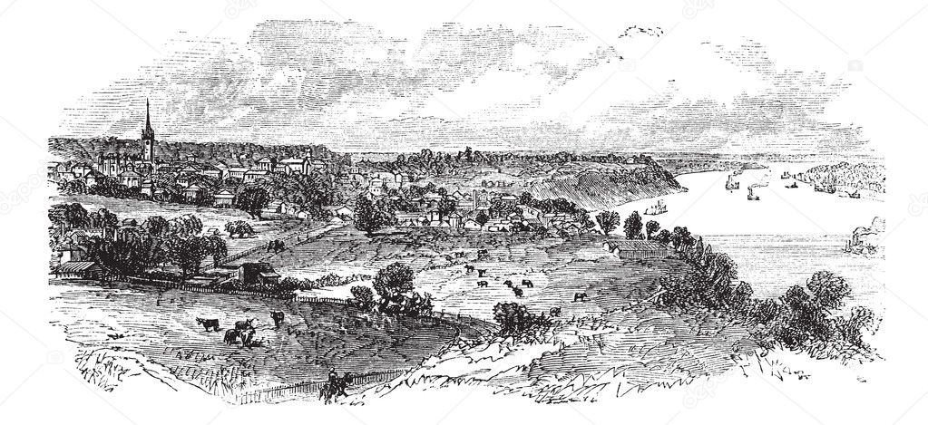 Natchez in Mississippi, USA, vintage engraved illustration. Trousset encyclopedia (1886 - 1891).  Vektorgrafik #6754981
