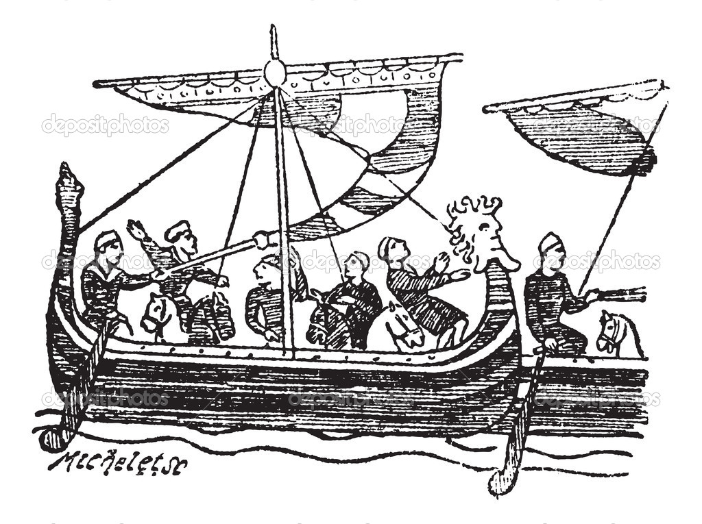 Norman Ship from the Bayeux Tapestry, vintage engraved illustration. Trousset encyclopedia (1886 - 1891). — Stock Vector #6755293