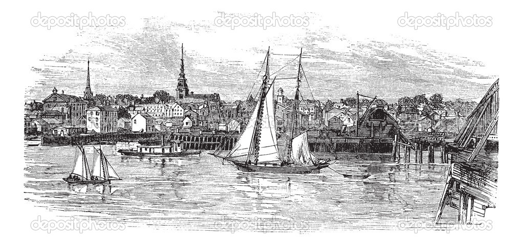 Newburyport in Massachusetts, USA, vintage engraved illustration. Trousset encyclopedia (1886 - 1891). — Stock Vector #6755300