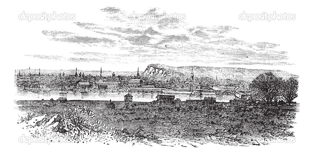 Newhaven in East Sussex, England, UK, vintage engraved illustration. Trousset encyclopedia (1886 - 1891). — Stock Vector #6755302