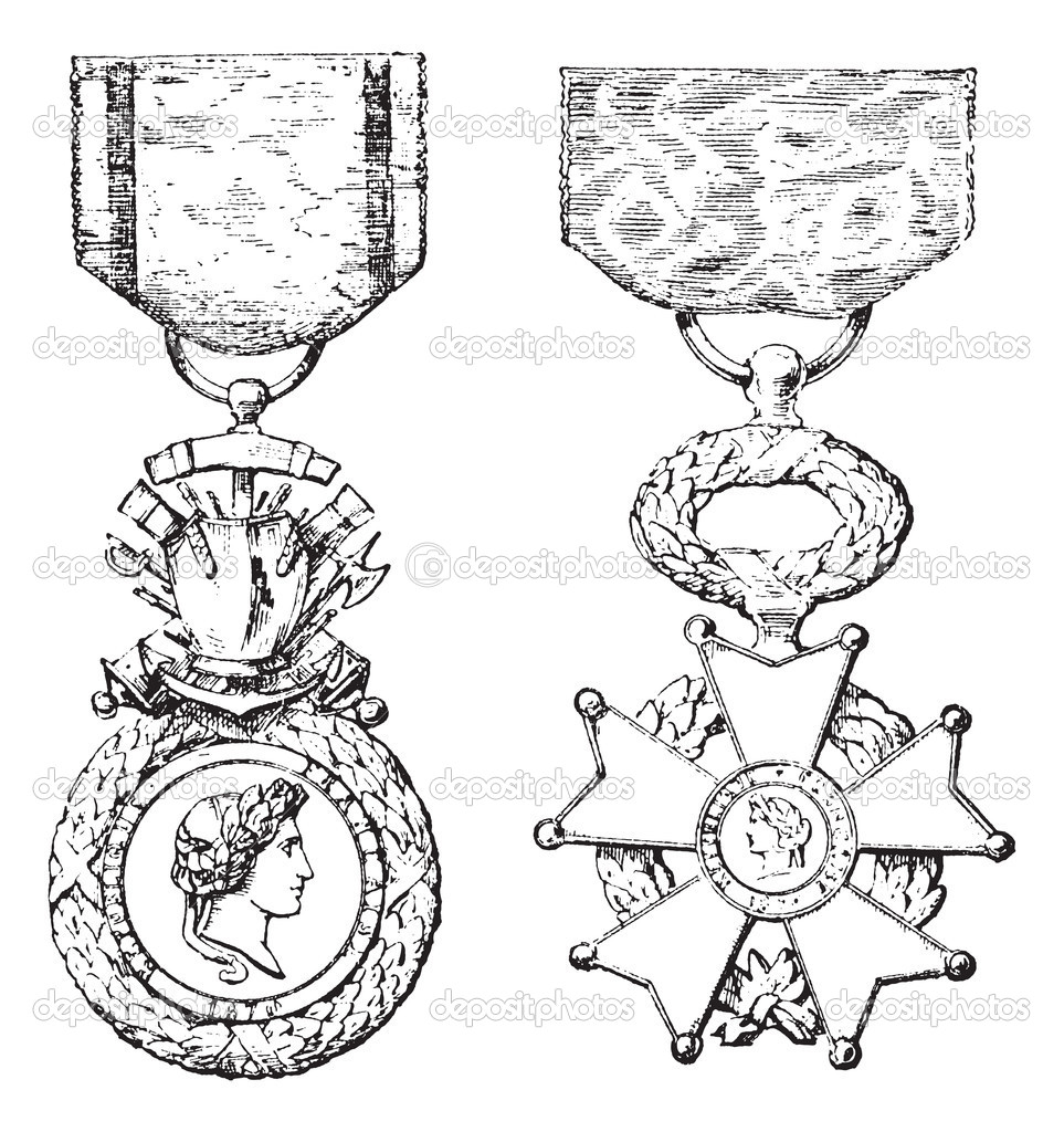 Military Medal, Cross of the Legion of Honor, vintage engraved illustration. Trousset encyclopedia (1886 - 1891).  Stock Vector #6755489