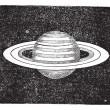 ������, ������: Saturn with its Rings vintage engraving