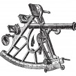 Sextant vintage engraving — Stock Vector